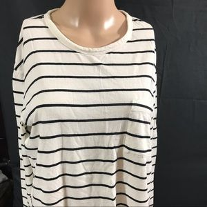 BP stripe long sleeve top with front pocket